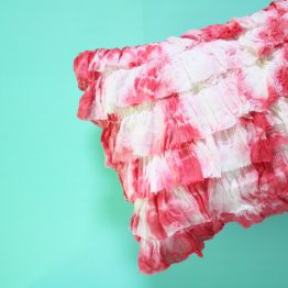 Tie Dyed Ruffled Pillow
